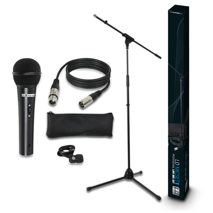 Вокальные микрофоны LD Systems LD Systems MICSET1 – Microphone Set with Mic, Stand, XLR Cable and Clamp